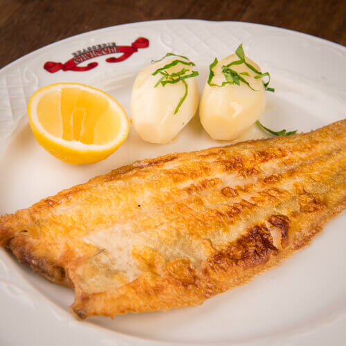 Dover sole with brown butter, lemon and parsley, steamed potatoes