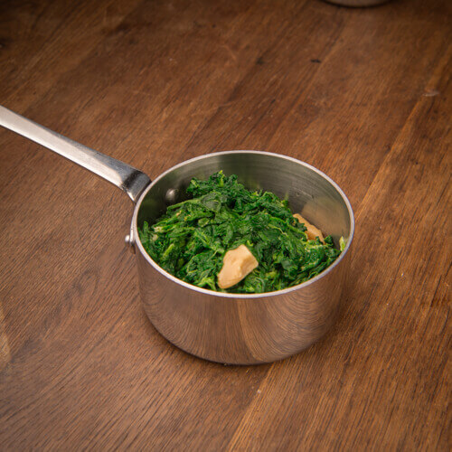 Sautéed spinach with garlic confit